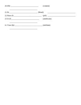 Être et Adjectifs French worksheet 1