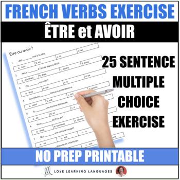 Tre Avoir French Verbs Worksheet Or Quiz Present Tense Tpt