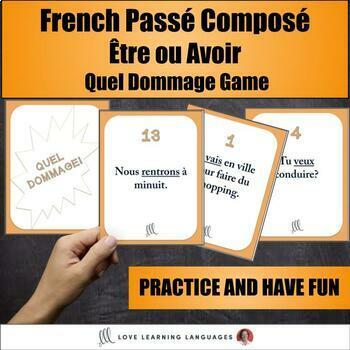 French Passé Composé with Être and Avoir Game - Quel Dommage!