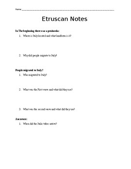 Etruscan Guided Notes