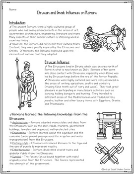 Etruscan and Greek Influences on Ancient Romans - FREEBIE