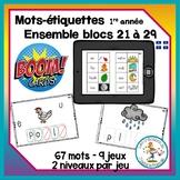 Étude de mots - blocs 21 à 29 - Boom Cards in French - Dis