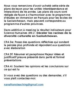 Études sociales de 4e année   Unite 2  French Immersion