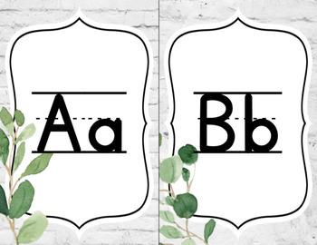 Eucalyptus Alphabet Posters - Cursive and Print - Farmhouse Decor