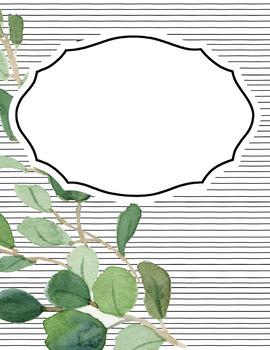 Eucalyptus - Farmhouse Decor - Editable Binder Covers