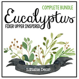 Eucalyptus & Green Leaf Classroom Decor Bundle - Farmhouse Decor