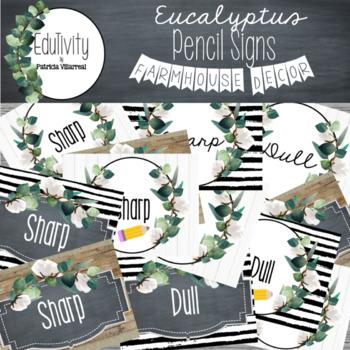 Eucalyptus Pencil Signs:Farmhouse Decor