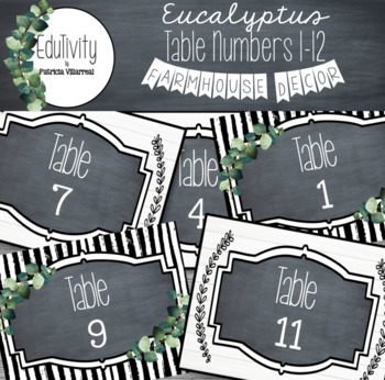 Eucalyptus Table Numbers: #'s 1 - 12