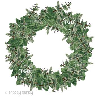 Eucalyptus Wreath Clip Art Printable Tracey Gurley Designs
