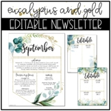 Eucalyptus and Gold Classroom Decor: EDITABLE NEWSLETTER