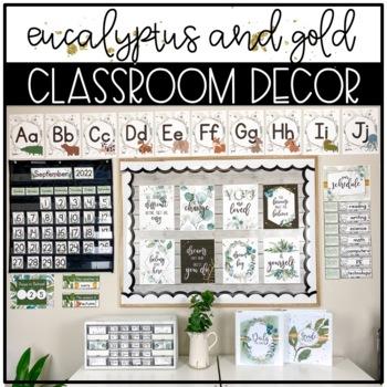 Eucalyptus and Gold Classroom Decor BUNDLE