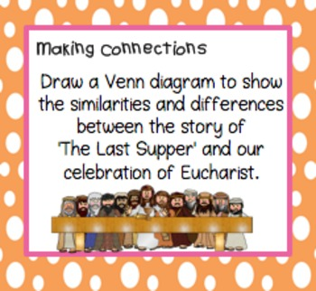 Eucharist Task Cards ~ First Communion, Sacrament, The Last Supper