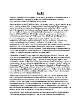 Euclid Biography Article and Assignment