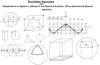 Euclidean Geometry with: 1)Algebra I, 2)Distance & Spheres, 3)4-D Spheres