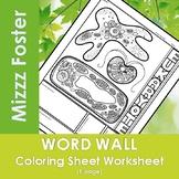 Eukaryote Word Wall Coloring Sheet