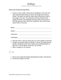 Eulogy Activity Template and Rubric