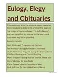 Eulogy, Elegy and Obituaries