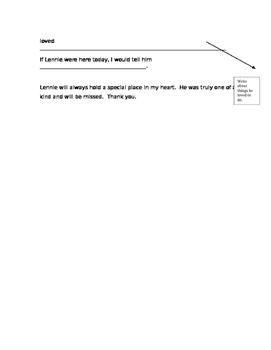 Eulogy for Lennie Small from Of Mice and Men (worksheet scaffold)