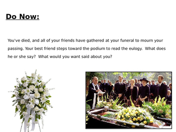 Eulogy for Lennie (characterization lesson, scaffold worksheet, PowerPoint)