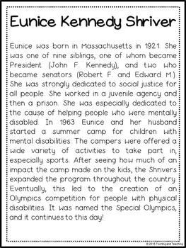 Eunice Shriver Biography Pack (Women's History)