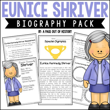 Eunice Shriver Mini Unit - Reading Passage, Graphic Organi