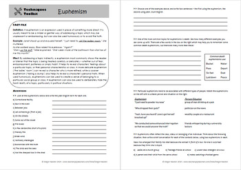 Euphemism - Techniques Toolkit - Worksheet and PowerPoint