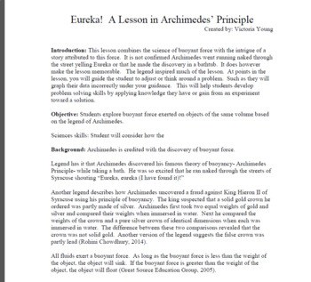 eureka a lesson in archimedes principle by victoria young  tpt a lesson in archimedes principle by victoria young  tpt