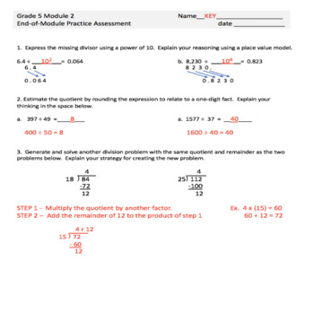 Eureka/Engage NY Math Grade 5 Module 2 Review and Practice Assessments