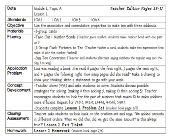 Eureka Engage NY Math Lesson Plans First Grade Module 2 SAMPLE FREEBIE