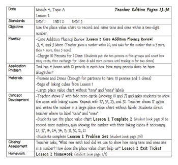 Eureka Engage NY Math Lesson Plans First Grade Module 4
