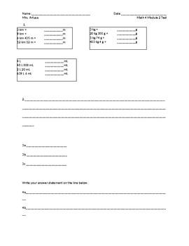 Eureka/EngageNY Grade 4 Module 2 End Assessment Answer Sheet