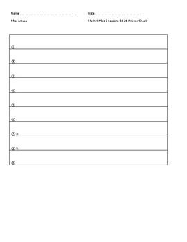 Eureka/EngageNY Grade 4 Module 3 Teacher Created Assessment Lessons 16-21