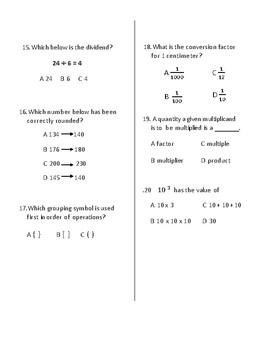 Math Vocabulary Quiz Grade 5 Module 2