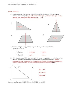 Eureka Math / Matemáticas, 4th grade End of Module Review, Module 4 Spanish