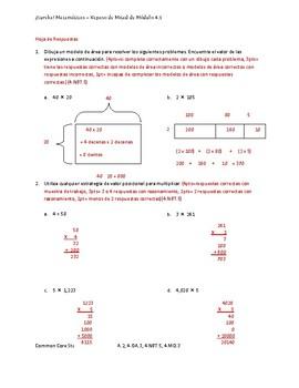 Eureka! Matemáticas: Repaso de Mitad de Módulo, 4to Grado, Módulo 3