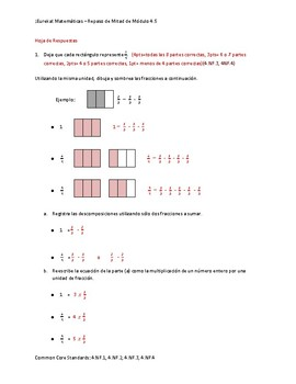 Eureka Math / Matemáticas, 4th grade Mid Module Review, Module 5 Spanish