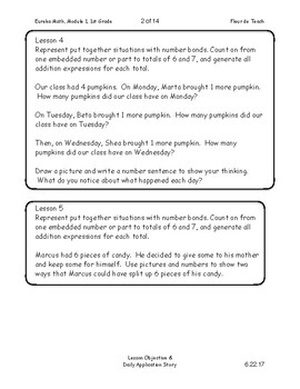 Eureka Math 1st (First) Grade Module 1 Lesson Objectives & Application Notebook