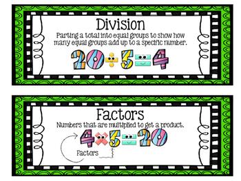 Eureka Math EngageNY 3rd Grade Word Wall: Module 1