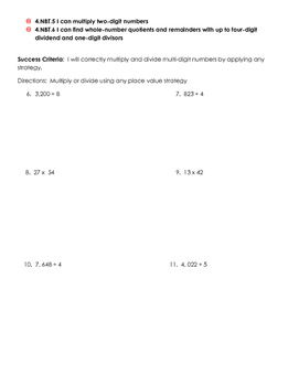 Eureka Math 4th Grade Module 3 Pre-assessment and Goal Setting Form