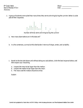 Eureka Math 6th Grade End of Module 6 Test