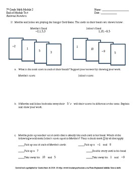 Eureka Math 7th Grade End-of-Module 2 Test
