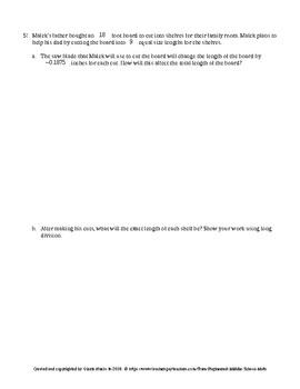 Eureka Math 7th Grade Mid-Module 2 Test
