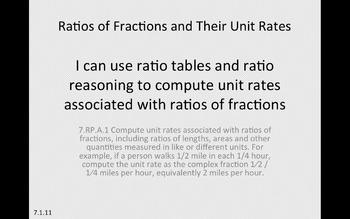 Eureka Math 7th grade Module 1 Lesson 11 Ratios of Fractions & Their Unit Rates