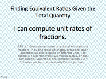 Eureka Math 7th grade Module 1 Lesson 13 Ratios of Fractions & Their Unit Rates