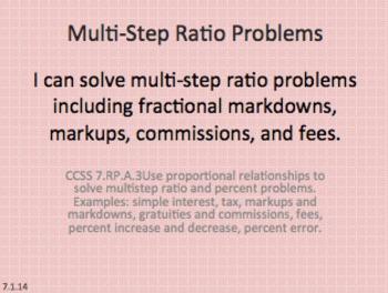 Eureka Math 7th grade Module 1 Lesson 14 Multi-Step Ratio Problems