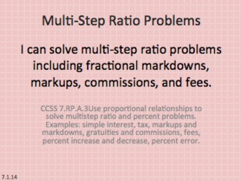 Eureka Math 7th grade Module 1 Lesson 14 Multi-Step Ratio