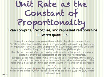 Eureka Math 7th grade Module 1 Lesson 7 Unit Rate of theConstant/Proportionality