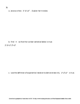 Eureka Math 8th Grade Mid-Module 1 Test