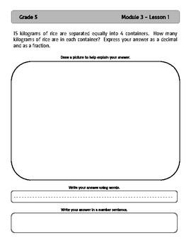EngageNY and Eureka Math Application Problems - Grade 5 - Module 3 - V3