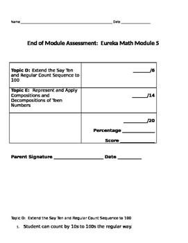 Eureka Math End of Module 5 Kindergarten Test